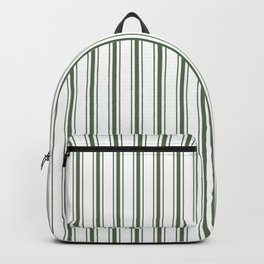 Large Dark Forest Green and White Mattress Ticking Stripes Backpack