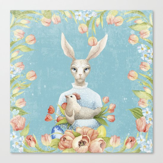 Beautiful Floral Flowers Female Animal Easter Bunny  on #Society6 Canvas Print