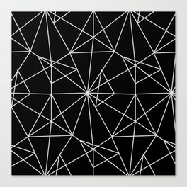 Abstract black white minimalist geometric pattern Canvas Print
