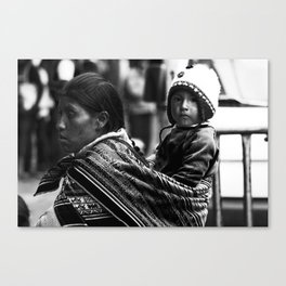 Mother and child in Peru Canvas Print