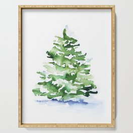Watercolor Pine Tree Serving Tray