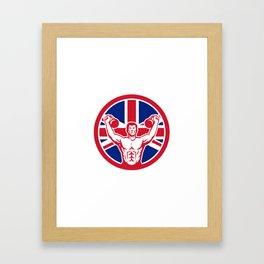 British Physical Fitness Union Jack Flag Icon Framed Art Print