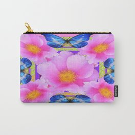 Blue Silken Butterflies Pink Camellias Patterned Abstract Carry-All Pouch