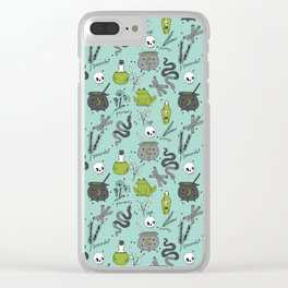 Halloween witch cauldron snakes frog herbs botanical skull pattern Clear iPhone Case