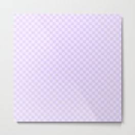 Chalky Pale Lilac Pastel Color Checkerboard Metal Print