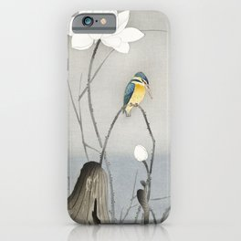 Kingfisher with Lotus Flower (1900 - 1945) by Ohara Koson (1877-1945) iPhone Case
