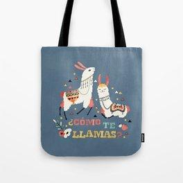 Como te Llamas. Funny Spanish Word Humor. Flowers and two Llamas Tote Bag