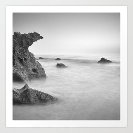 Roche Reefs At Sunset. Bw Art Print