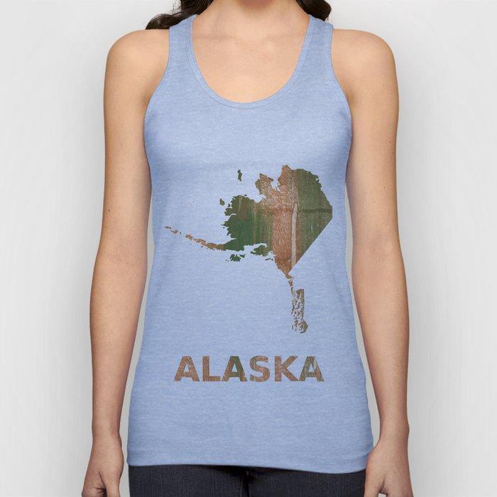 Alaska map outline Peru green streaked wash drawing illustration Unisex Tank Top