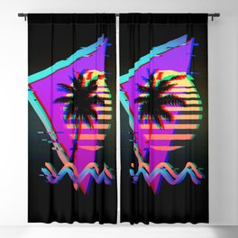 Retro Vaporwave Palm Tree Sunset with Synthwave Glitch Aesthetic Blackout Curtain