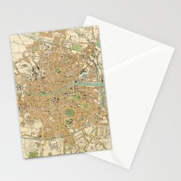 Vintage Map of Dublin Ireland (1914) Stationery Cards