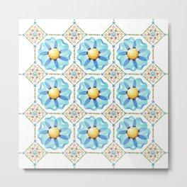 Blue Daisy Boho Metal Print