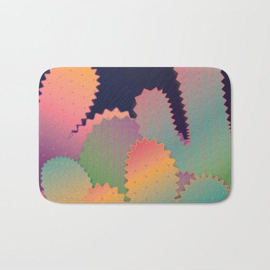 Colorful Glowing Cactus Bath Mat