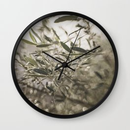 Olive Tree Leaves in the Mist Wall Clock