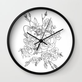 Floral Ink - Black & White Wall Clock