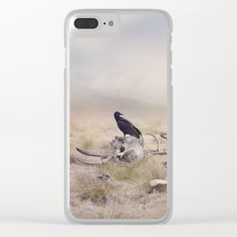 Black Vulture perches on Elephant Skeleton Clear iPhone Case