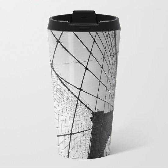 Brooklyn Bridge Black and White Metal Travel Mug
