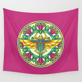 Scarabae Mandala Red Background Wall Tapestry