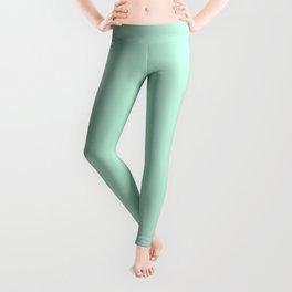 Pastel Mint Green Minimalist Solid Color Block Leggings