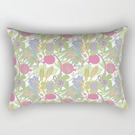 Seven Species Botanical Fruit and Grain with Pastel Colors Rectangular Pillow