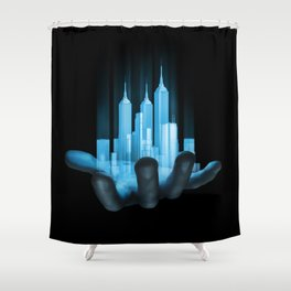 Virtualville / 3D render of miniature holographic city in human hand Shower Curtain