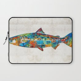Fish Art Print - Colorful Salmon - By Sharon Cummings Laptop Sleeve