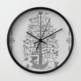 Christmas tree ship (gray) Wall Clock