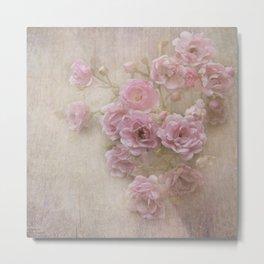 Pink Vintage Roses Metal Print