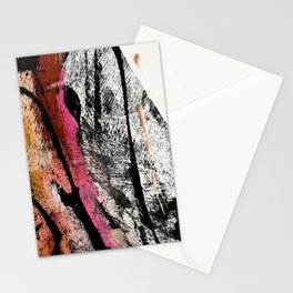 Motivation [2] : a colorful, vibrant abstract piece in pink red, gold, black and white Stationery Cards