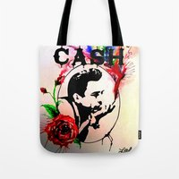 johnny cash Tote Bags featuring Johnny Cash by suzannelola_art