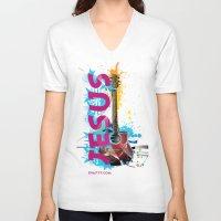 jesus V-neck T-shirts featuring Jesus by Eva777