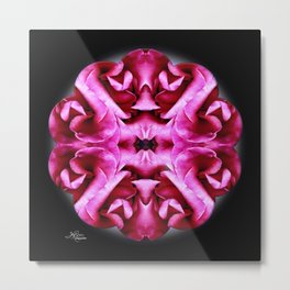 Pink Rose Mandala Metal Print