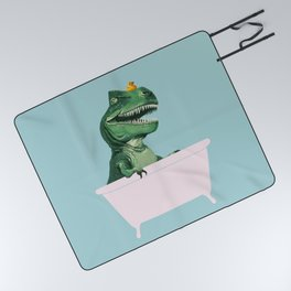 Playful T-Rex in Bathtub in Green Picnic Blanket