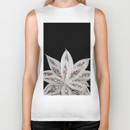 Gray Agave with Rose Gold Glitter #2 #shiny #tropical #decor #art #society6 Biker Tank