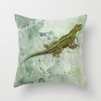 lizard Throw Pillows featuring Lizard by Michelle Behar
