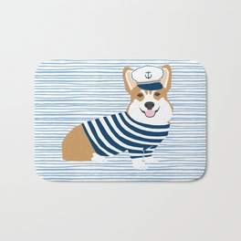 Corgi nautical sailor costume dog breed gifts welsh corgi dog lovers Bath Mat