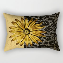 ANIMAL PRINT BLACK AND GOLD FLOWER MEDALLION Rectangular Pillow