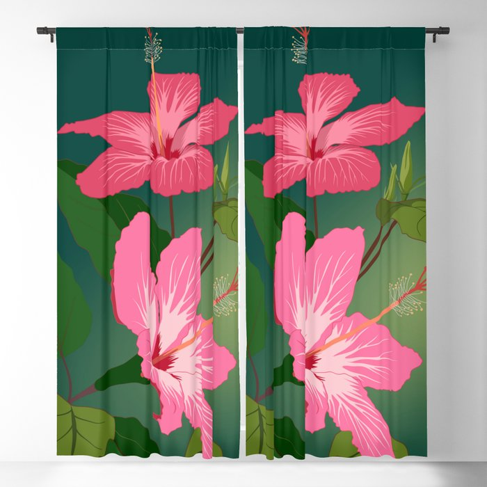 Colorful Hummingbird On Hibiscus Flower Blackout Curtain By Aptine