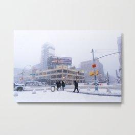 Snowy NYC Meatpacking District Metal Print