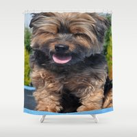 yorkie Shower Curtains featuring Yorkie by Sammycrafts
