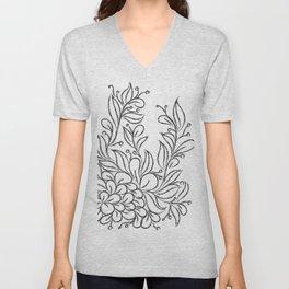 Floral Black and White Art Unisex V-Neck