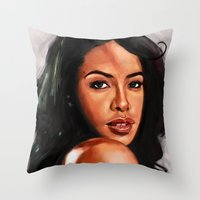 aaliyah Throw Pillows featuring At Your Best by Tetevi Teteh