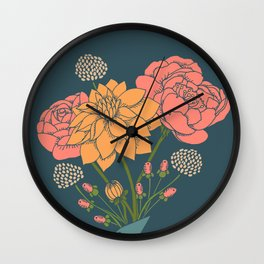 Bouquet of Flowers on Blue Wall Clock
