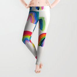 Abstract Rainbow Arcs - White Palette Leggings