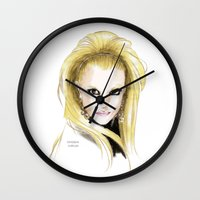 britney spears Wall Clocks featuring Britney Spears Scream & Shout by Eduardo Sanches Morelli