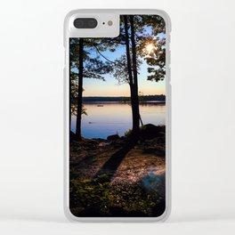 Camping on Lake Pemaquid in Damariscotta, Maine Clear iPhone Case