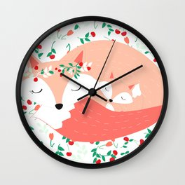 Mom and Baby Fox, Woodland, Floral Nursery, Peach and Mint Wall Clock
