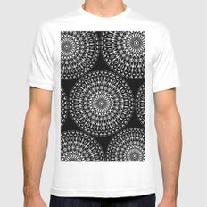 Geometries in white. White MEDIUM Mens Fitted Tee