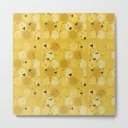 Cute Honeycomb Bee Pattern Metal Print