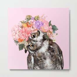 Owl with Flowers Crown in Pink Metal Print